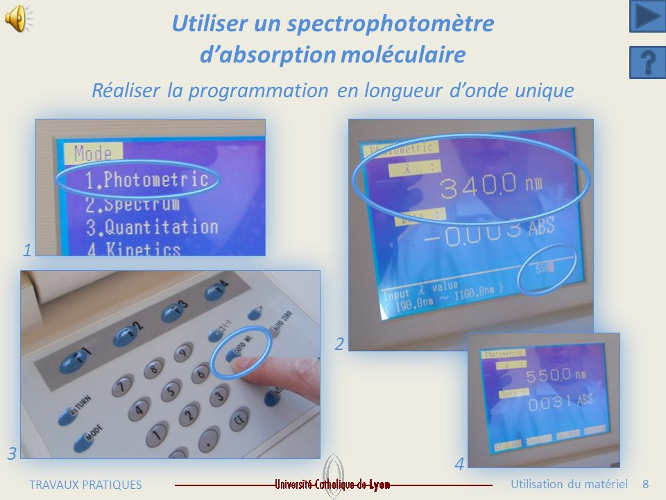 Utiliser un spectrophotomètre d'absorption moléculaire