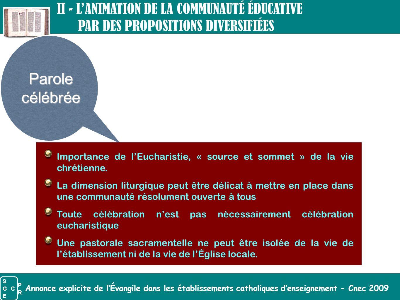 Parole célébrée II - L'ANIMATION DE LA COMMUNAUTÉ ÉDUCATIVE