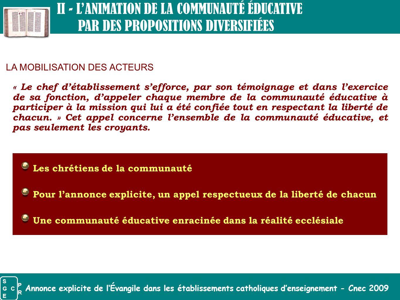 II - L'ANIMATION DE LA COMMUNAUTÉ ÉDUCATIVE