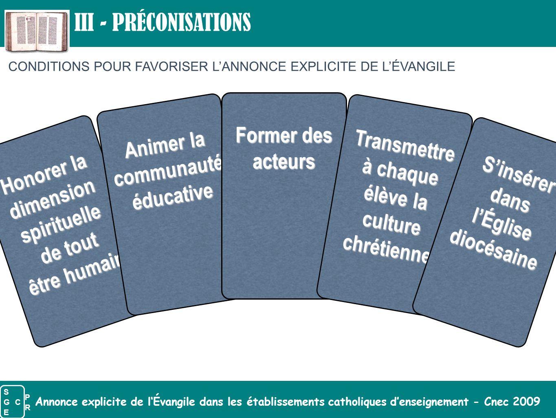 III - PRÉCONISATIONS Former des acteurs Animer la communauté éducative