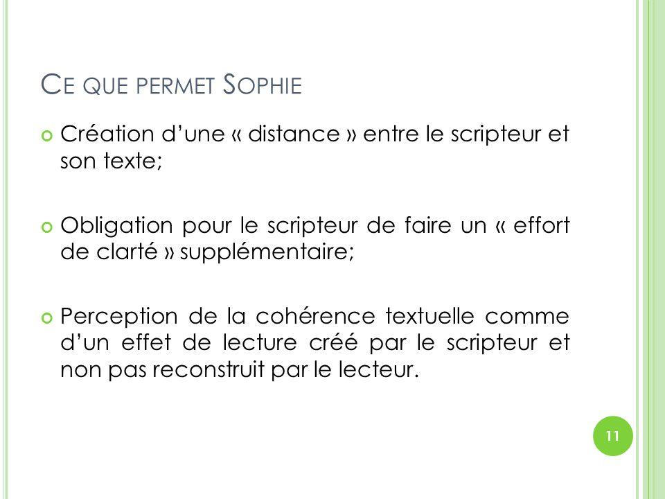 Ce que permet Sophie Création d'une « distance » entre le scripteur et son texte;