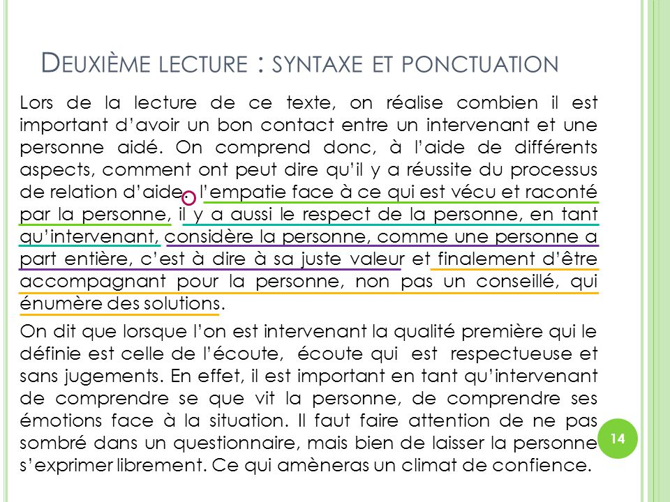 Deuxième lecture : syntaxe et ponctuation