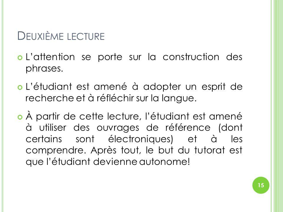 Deuxième lecture L'attention se porte sur la construction des phrases.