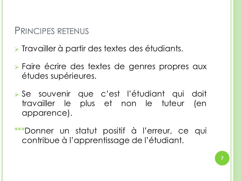 Principes retenus Travailler à partir des textes des étudiants.