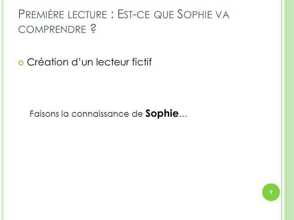Première lecture : Est-ce que Sophie va comprendre