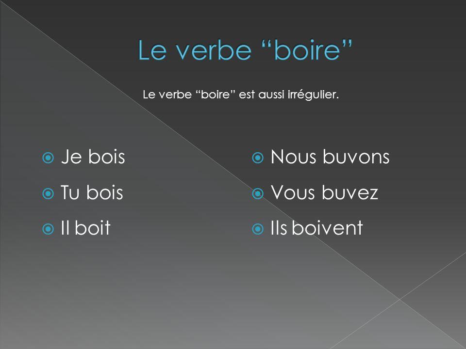 Le verbe boire Je bois Tu bois Il boit Nous buvons Vous buvez
