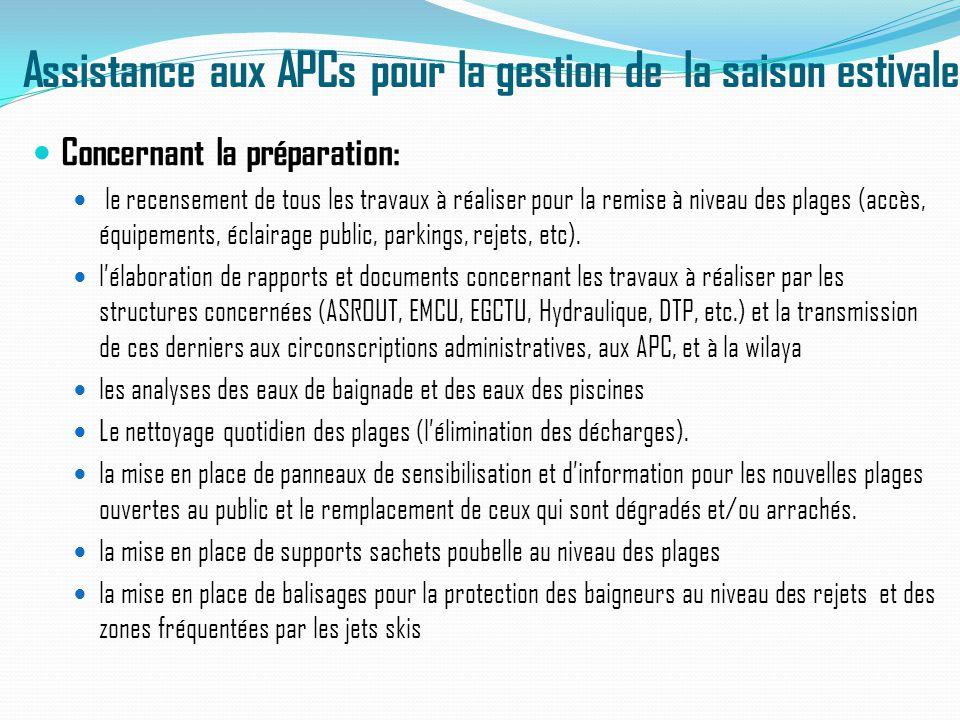 Assistance aux APCs pour la gestion de la saison estivale