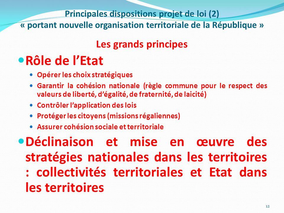 Principales dispositions projet de loi (2) « portant nouvelle organisation territoriale de la République »