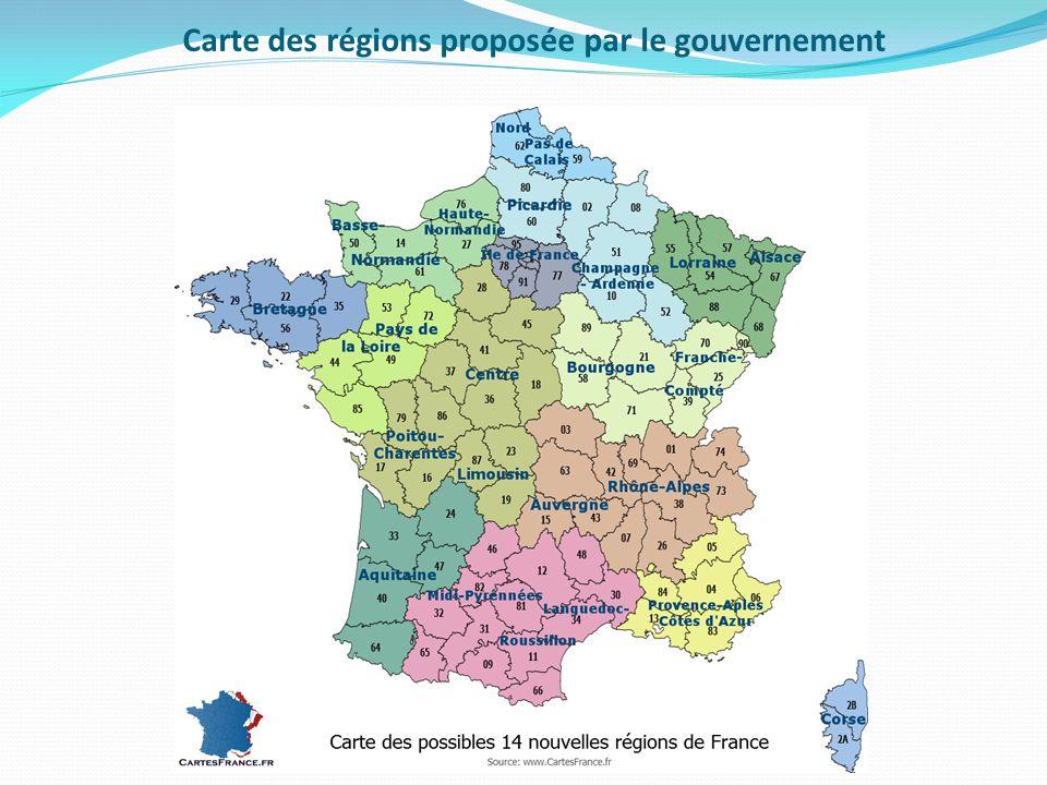 Carte des régions proposée par le gouvernement