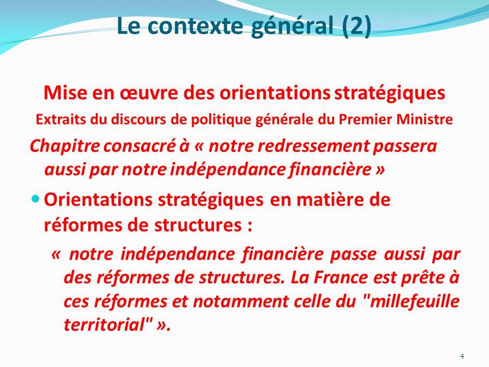 Le contexte général (2) Mise en œuvre des orientations stratégiques