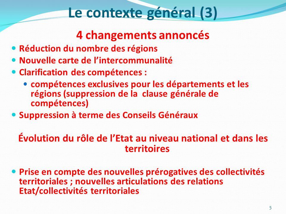 Évolution du rôle de l'Etat au niveau national et dans les territoires