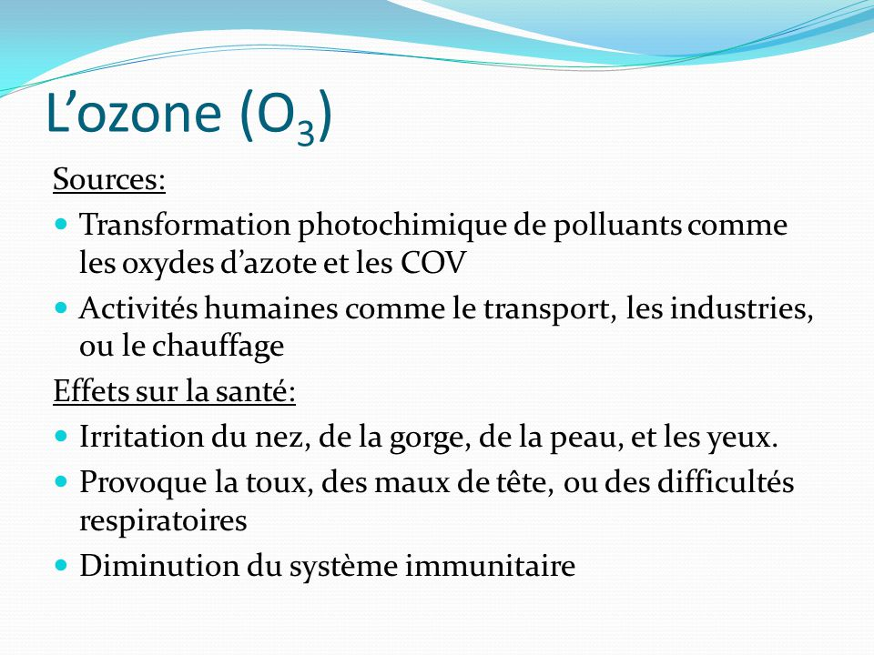L'ozone (O3) Sources: Transformation photochimique de polluants comme les oxydes d'azote et les COV.