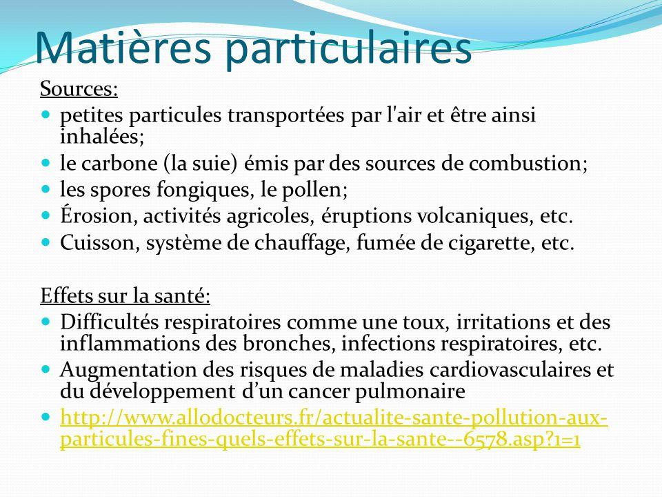 Matières particulaires