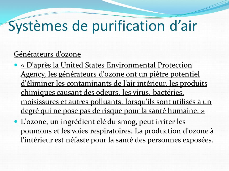 Systèmes de purification d'air