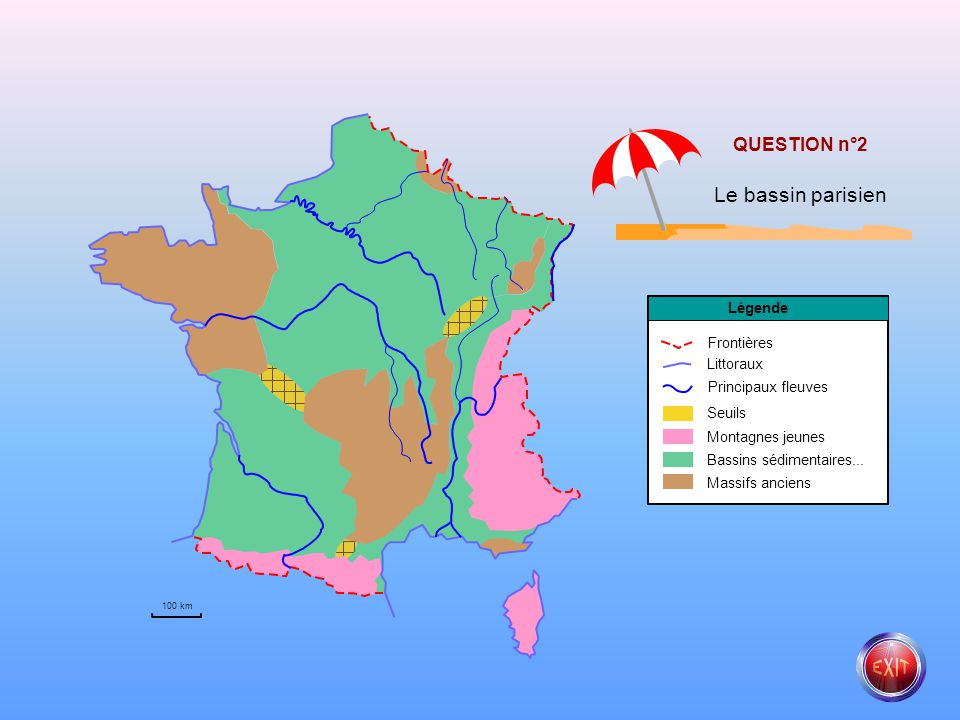 Le bassin parisien QUESTION n°2 Légende Frontières Littoraux