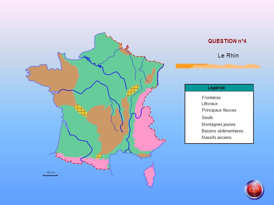 Le Rhin QUESTION n°4 Légende Frontières Littoraux Principaux fleuves