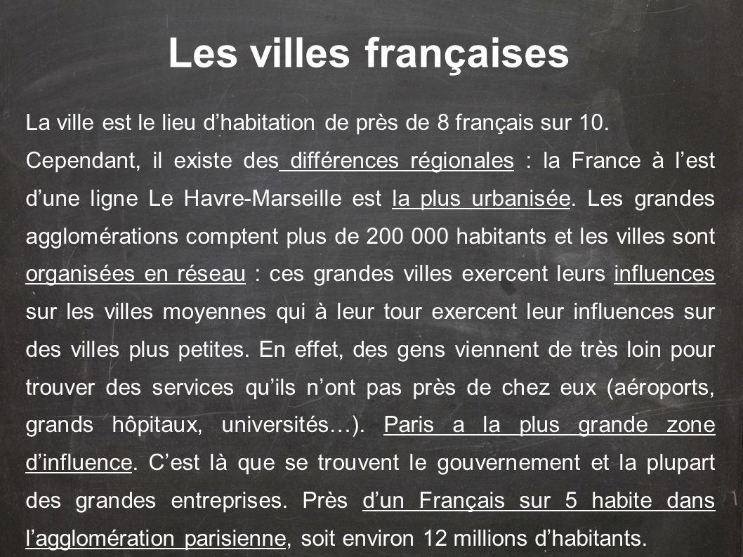 Les villes françaises La ville est le lieu d'habitation de près de 8 français sur 10.