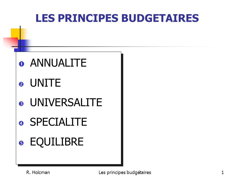 LES PRINCIPES BUDGETAIRES