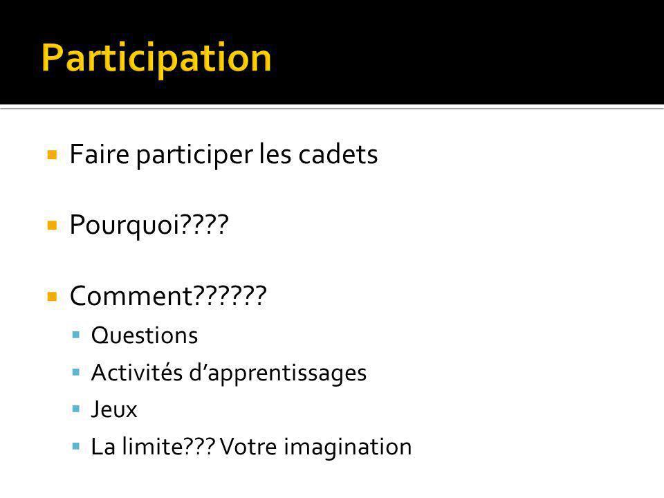 Participation Faire participer les cadets Pourquoi Comment