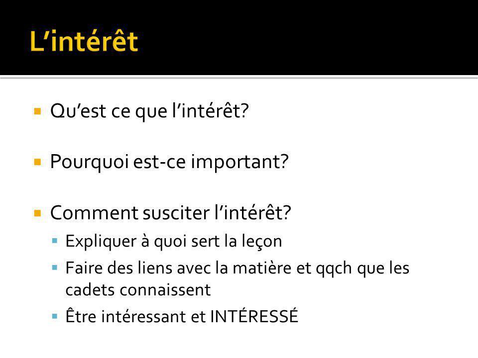 L'intérêt Qu'est ce que l'intérêt Pourquoi est-ce important