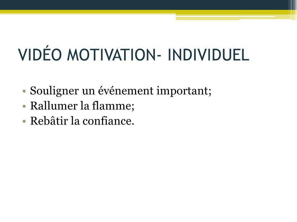 VIDÉO MOTIVATION- INDIVIDUEL