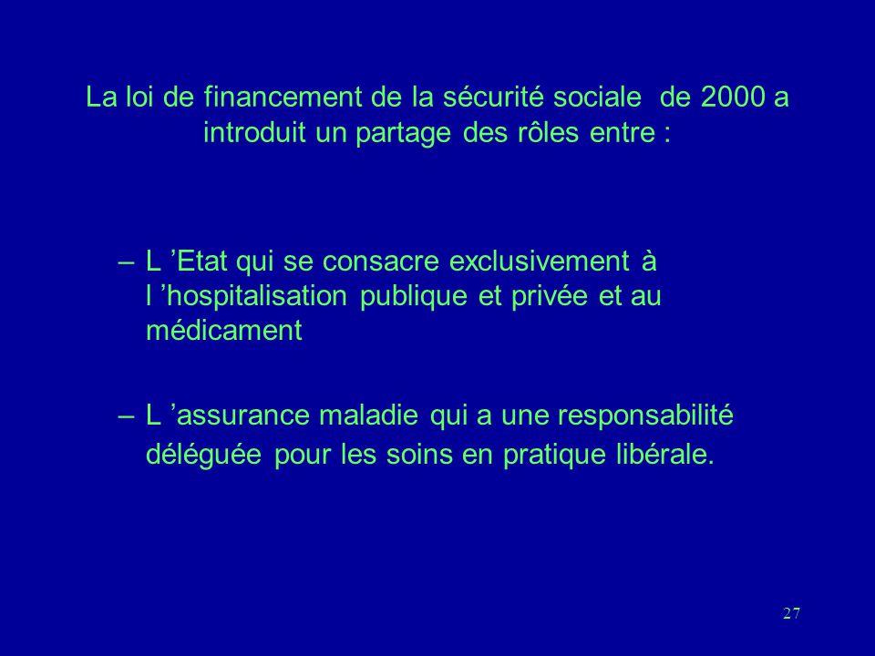 La loi de financement de la sécurité sociale de 2000 a introduit un partage des rôles entre :