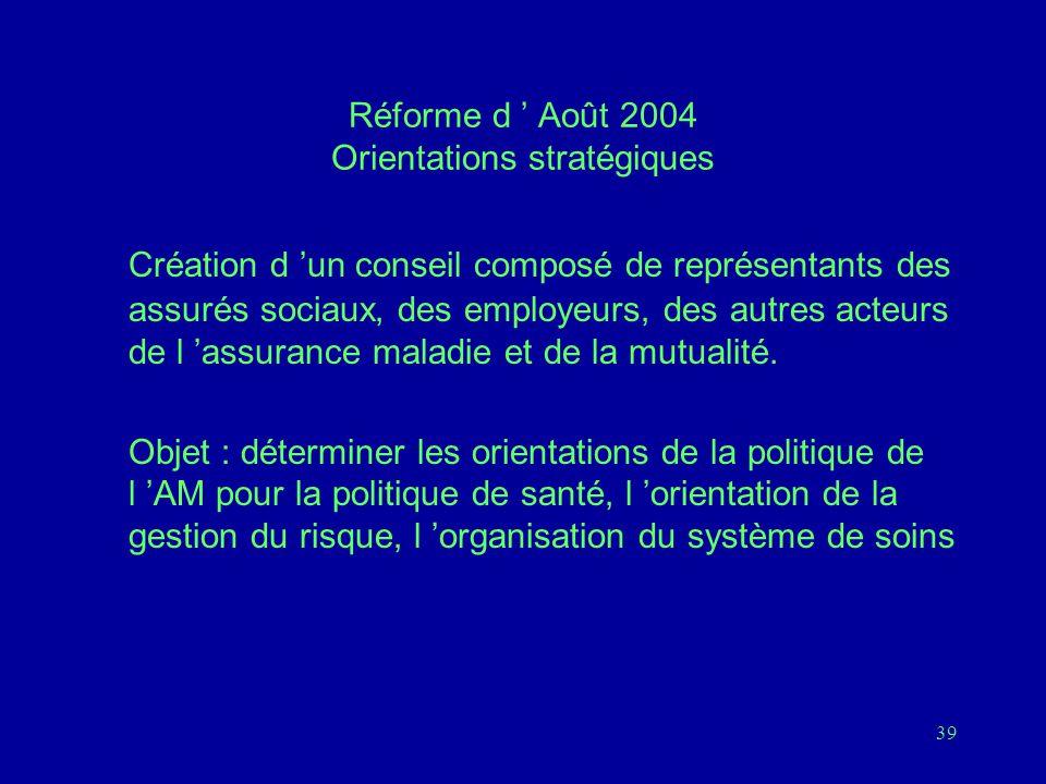 Réforme d ' Août 2004 Orientations stratégiques