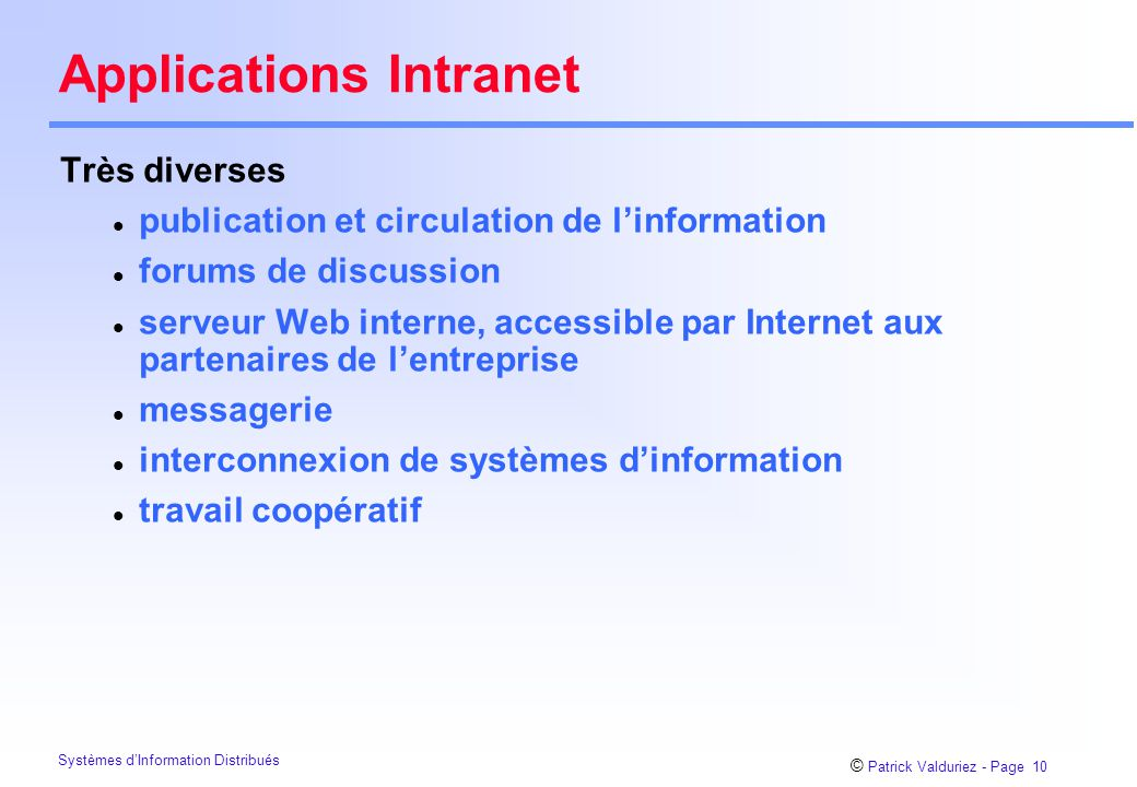 Applications Intranet