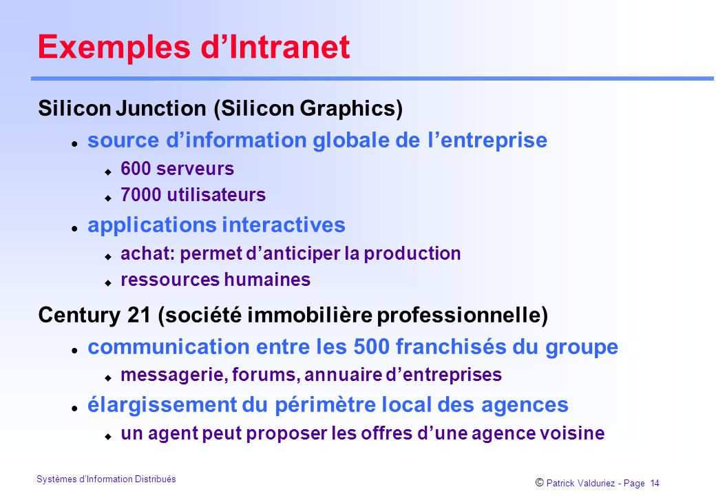 Exemples d'Intranet Silicon Junction (Silicon Graphics)