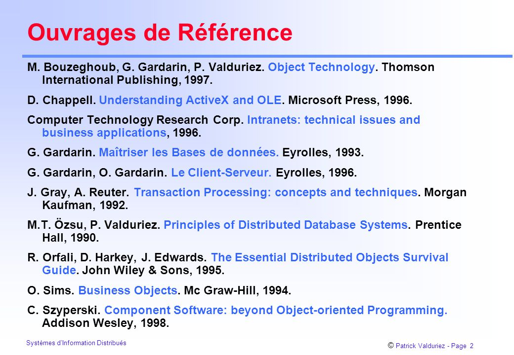 Ouvrages de Référence M. Bouzeghoub, G. Gardarin, P. Valduriez. Object Technology. Thomson International Publishing, 1997.