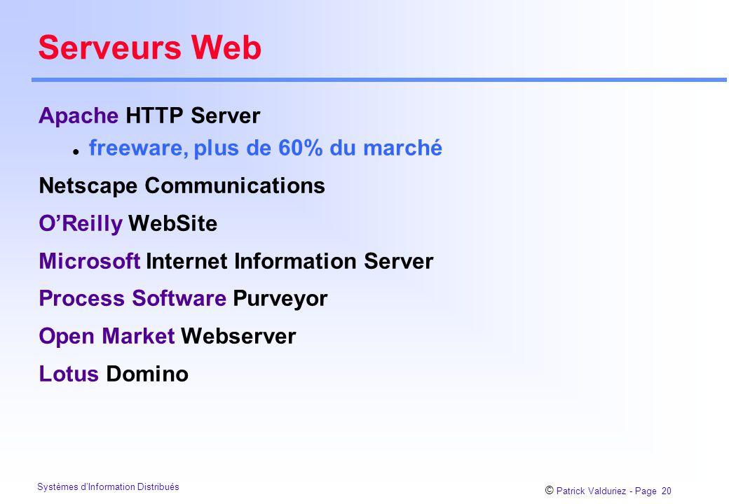 Serveurs Web Apache HTTP Server freeware, plus de 60% du marché