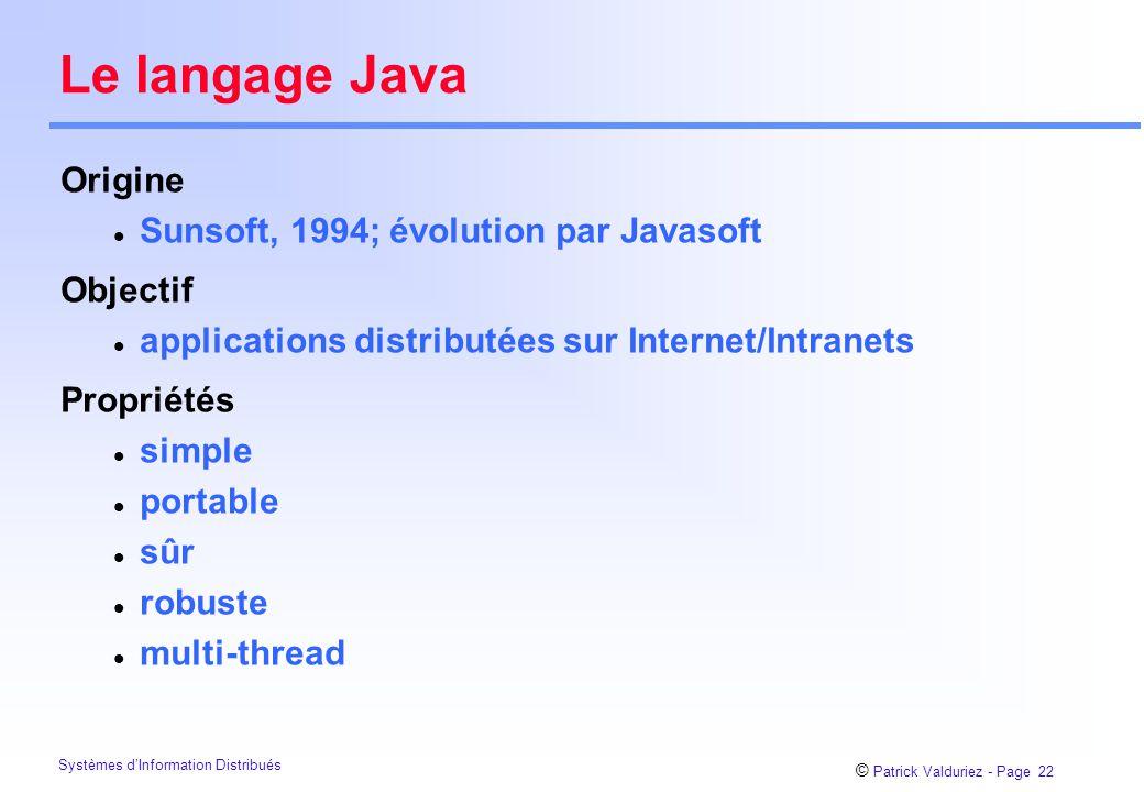 Le langage Java Origine Sunsoft, 1994; évolution par Javasoft Objectif