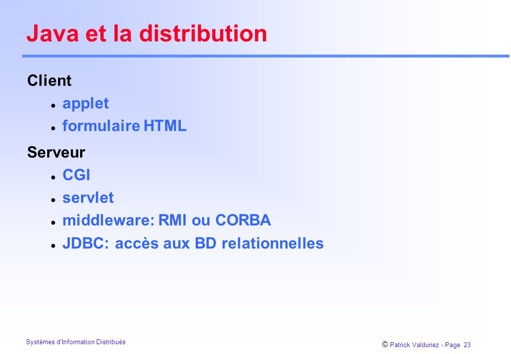 Java et la distribution