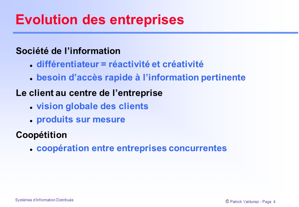 Evolution des entreprises