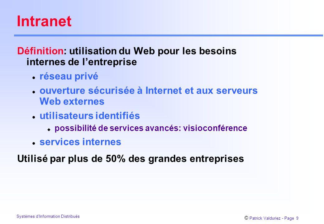Intranet Définition: utilisation du Web pour les besoins internes de l'entreprise. réseau privé.