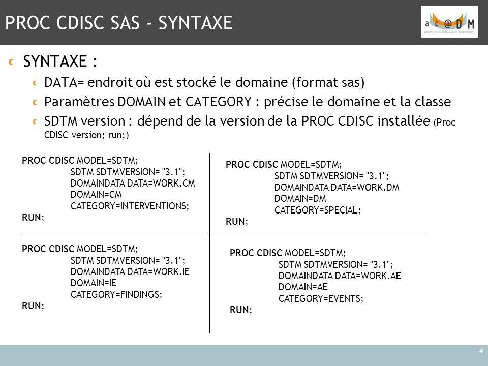 PROC CDISC SAS - SYNTAXE