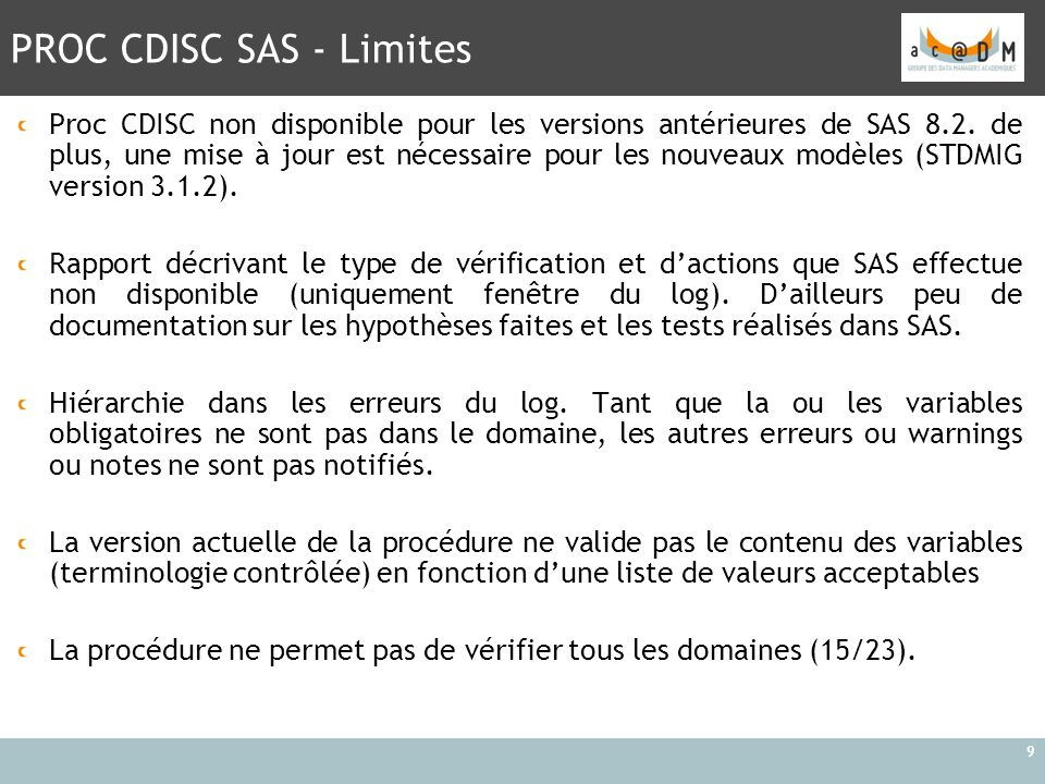 PROC CDISC SAS - Limites