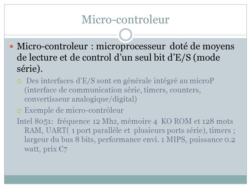 Micro-controleur Micro-controleur : microprocesseur doté de moyens de lecture et de control d'un seul bit d'E/S (mode série).