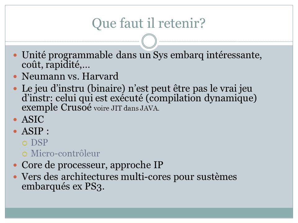 Que faut il retenir Unité programmable dans un Sys embarq intéressante, coût, rapidité,… Neumann vs. Harvard.