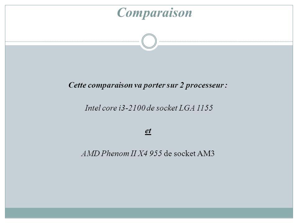 Cette comparaison va porter sur 2 processeur :