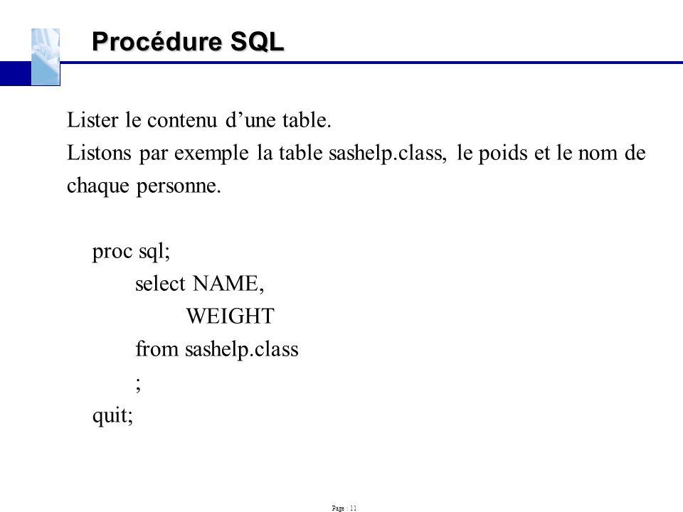 Procédure SQL Lister le contenu d'une table.