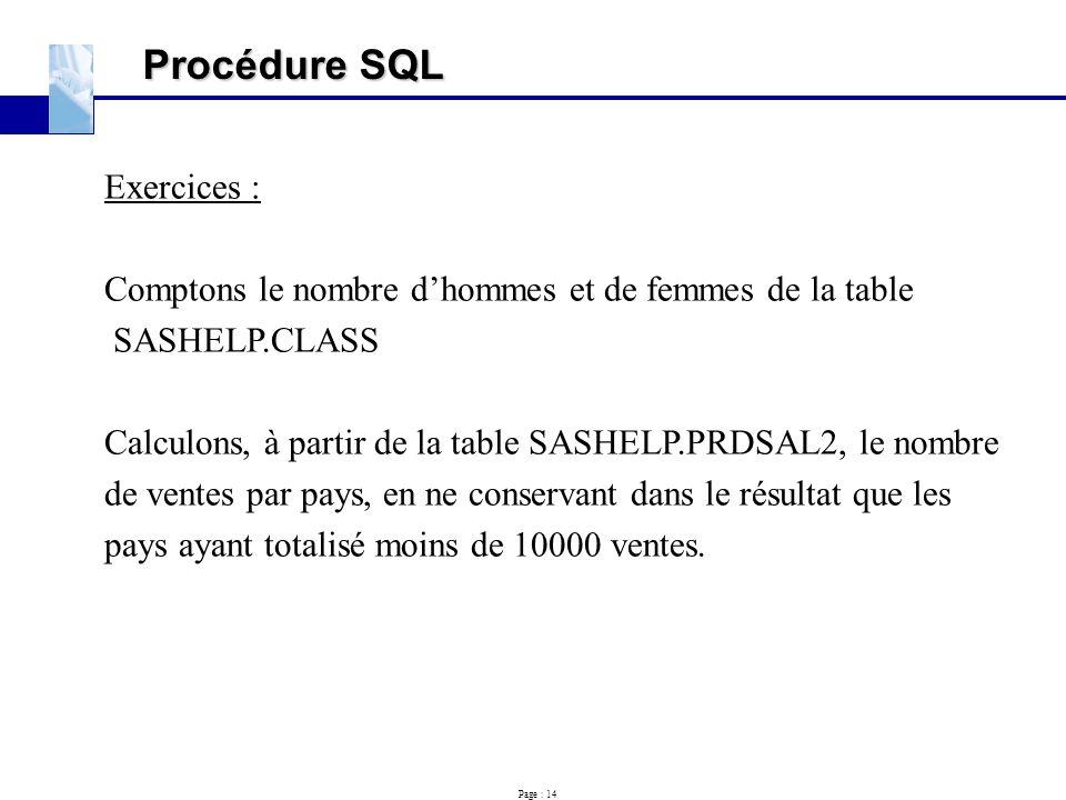 Procédure SQL Exercices :