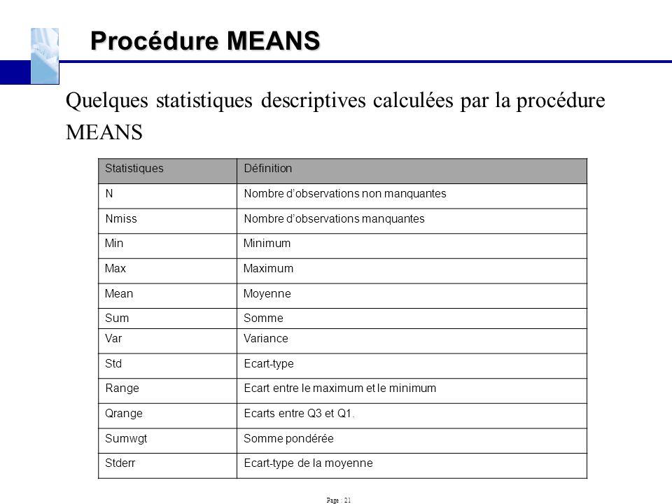 Procédure MEANS Quelques statistiques descriptives calculées par la procédure. MEANS. Statistiques.