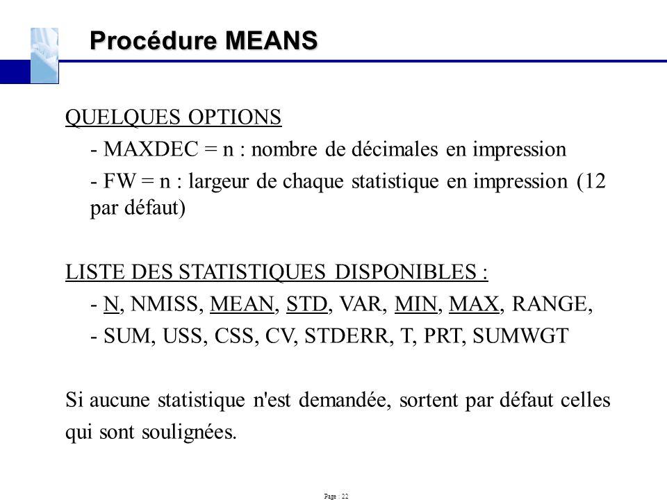 Procédure MEANS QUELQUES OPTIONS