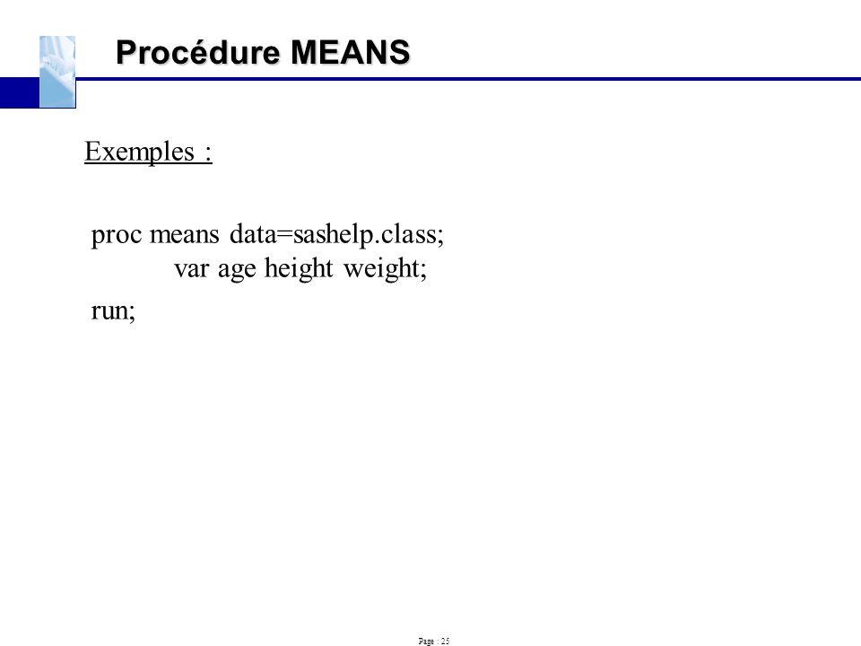 Procédure MEANS Exemples :