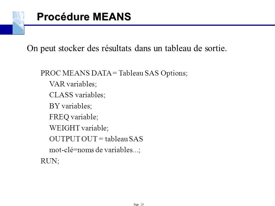 Procédure MEANS On peut stocker des résultats dans un tableau de sortie. PROC MEANS DATA = Tableau SAS Options;
