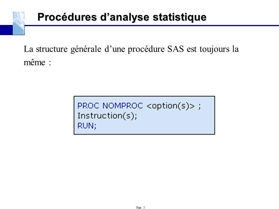 Procédures d'analyse statistique