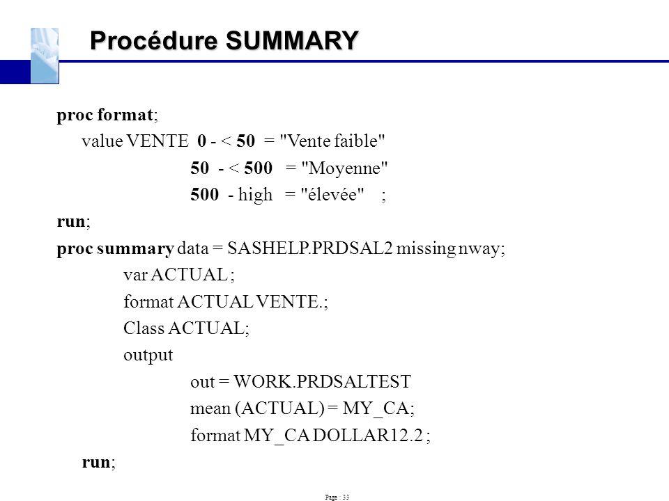 Procédure SUMMARY proc format;