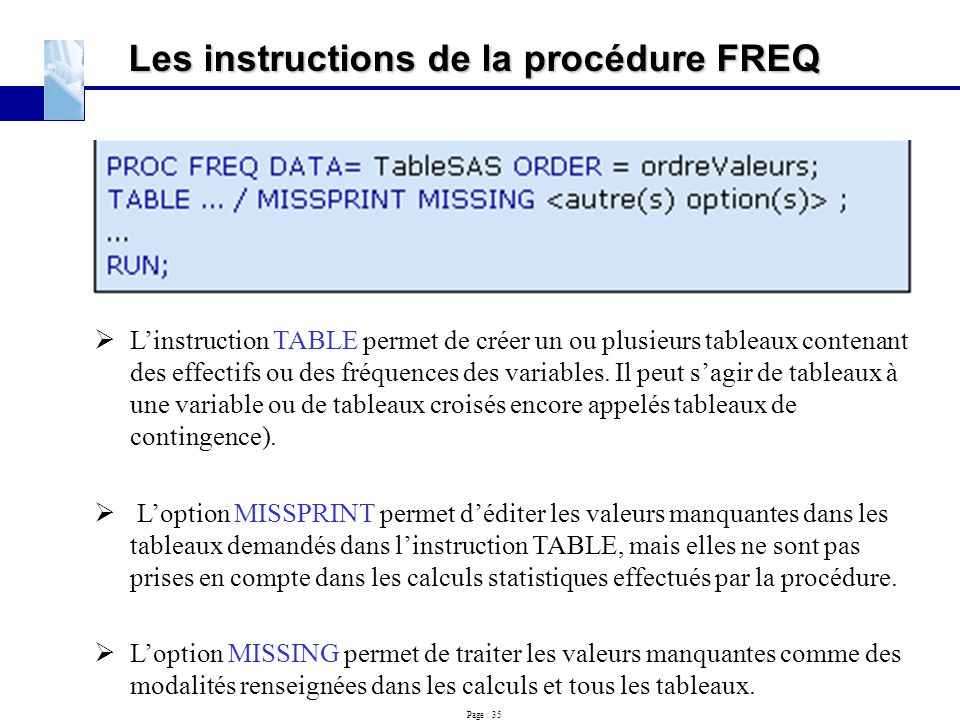 Les instructions de la procédure FREQ