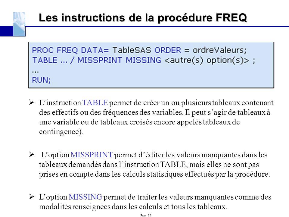 Les instructions de la procédure FREQ